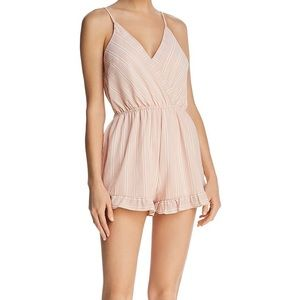 PPLA Mooney Pink Striped Romper with Ruffles